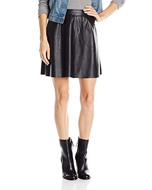 Lucky Brand - Black Leather Flirty Skirt - Lyst