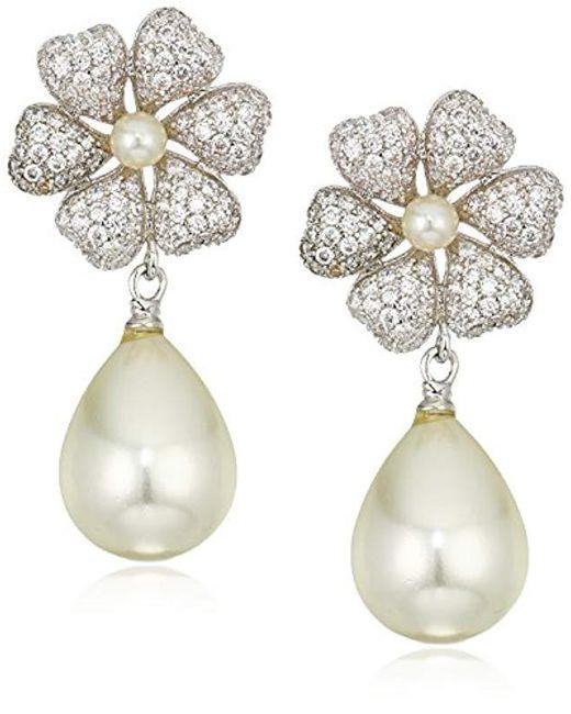 Nina - White S E-edene Drop Earrings, Rhodium/ivory Pearl/cz, One Size - Lyst