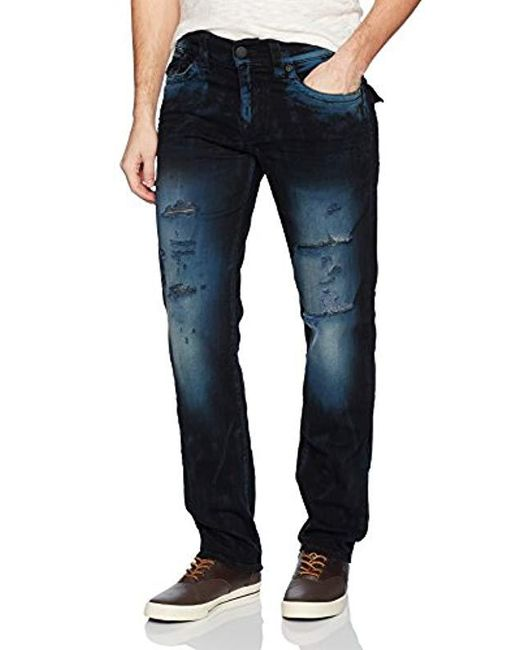 True Religion Blue Geno Slim Straight Jeans With Back Flap Pockets2 for men
