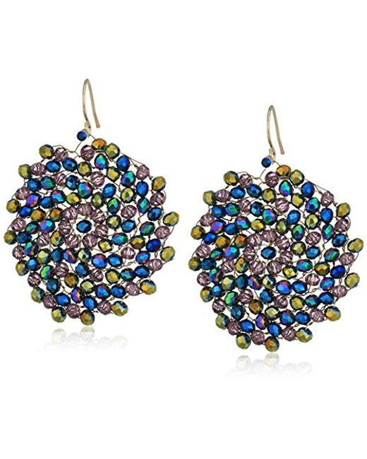 "Kenneth Cole - Multicolor ""multi-color"" Gold And Multi-colored Beaded Woven Drop Earrings - Lyst"