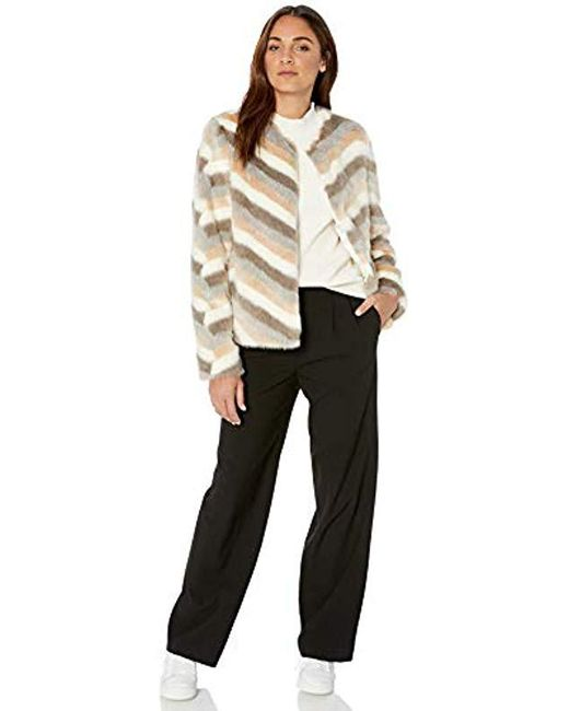 d4232912a4dd Lyst - Calvin Klein Chevron Faux Fur Jacket in Natural