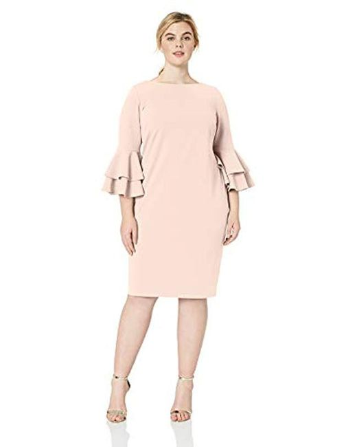 Calvin Klein Plus Size Tiered Bell Sleeve Dress in Pink - Save 58 ...