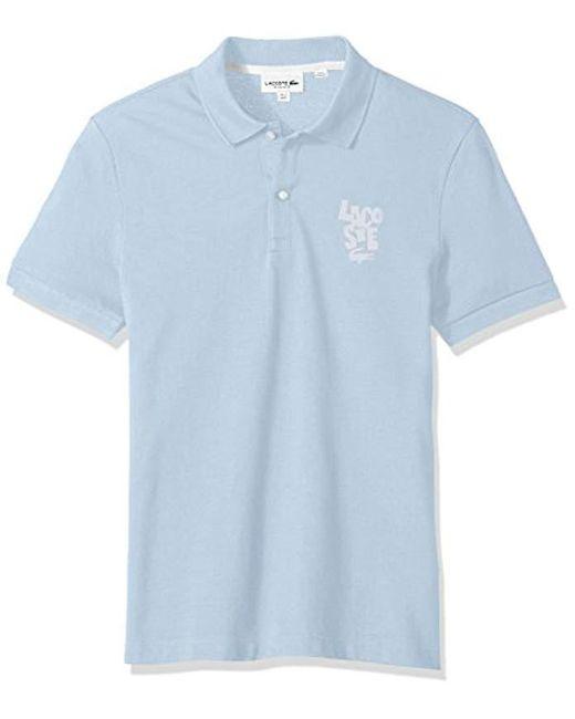 Lacoste - Blue Short Sleeve Graphic Pique Bonded Print Reg Fit Polo, Ph3244 for Men - Lyst