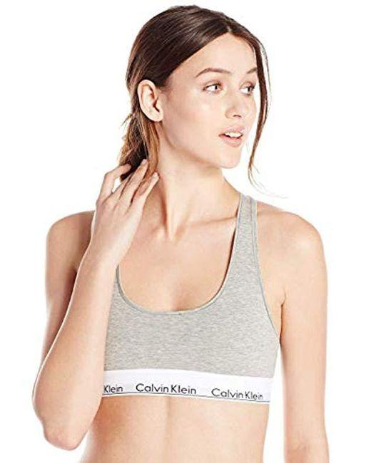 Calvin Klein - Gray Modern Cotton Skinny Strap Bralette - Lyst