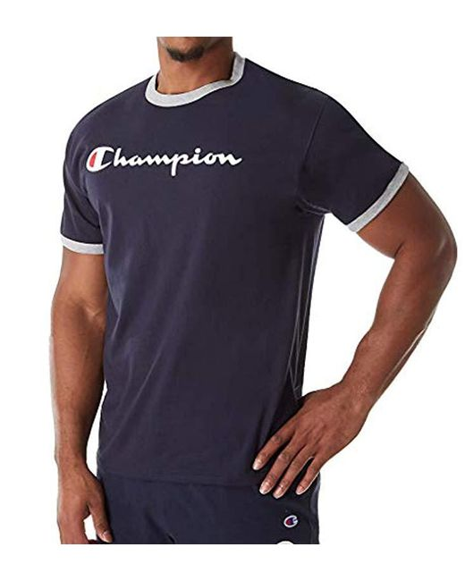 8abb8cf3 Lyst - Champion Jersey Ringer Tee in Blue for Men - Save 80%