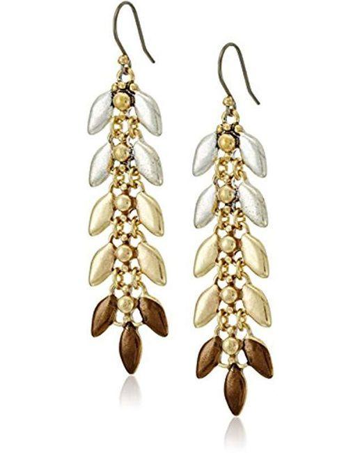 Lucky Brand - Metallic S Leaf Linear Earrings - Lyst