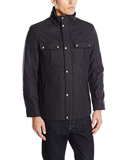 Cole Haan - Multicolor Wool Melton Stand Collar Jacket With Patch Pockets for Men - Lyst
