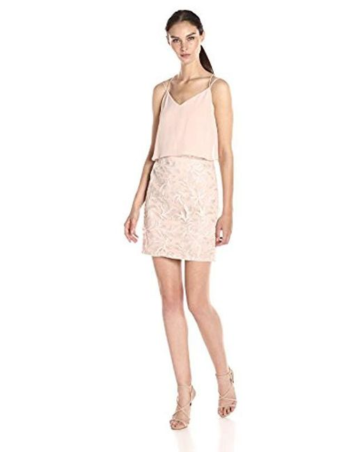 Aidan By Aidan Mattox Pink Chiffon Popover Top Cocktail Dress With Embroidered Feather Motif Skirt
