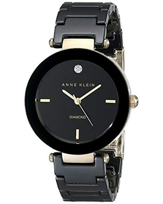 Anne Klein - Black Round Ceramic Diamond Watch - Lyst