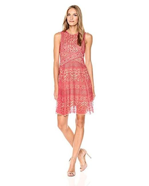 BCBGMAXAZRIA Red Bcbgmax Azria Alice Knit Stretch Lace Hankerchief Dress