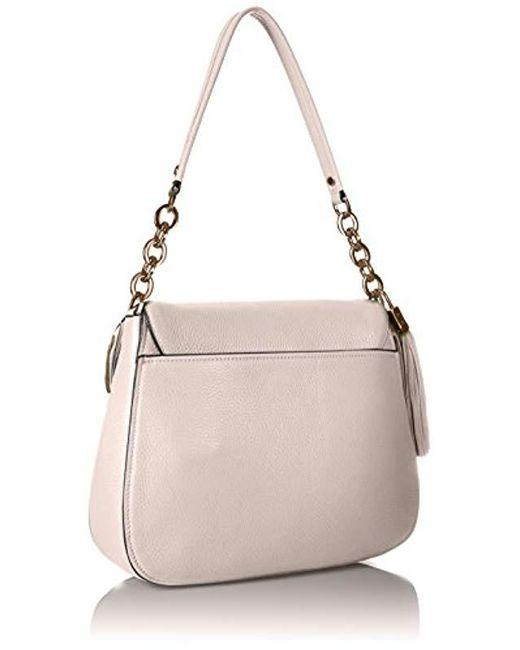 4055a31d28 ... Calvin Klein - White Lynn Pebble Flap Hobo Shoulder Bag - Lyst ...