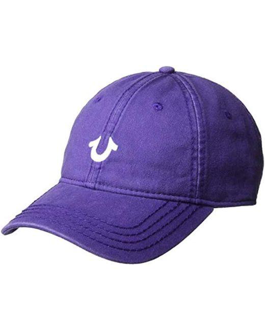 True Religion Purple Baseball Cap for men
