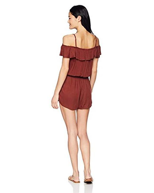 13599a4af2f3 Lyst - Roxy Western Holiday Coverup Swim Romper in Red - Save 40%