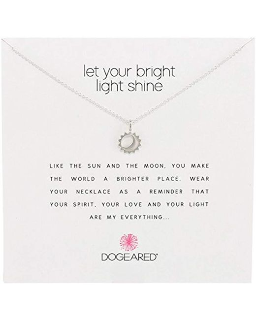 """Dogeared - Metallic Reminder Let Your Bright Light Shine Sun And Moon Pendant Necklace, 16.25"""" - Lyst"""