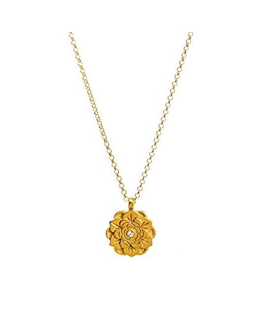 Dogeared - Metallic S Beautiful Beginnings, Detailed Lotus Charm With Crystal Inset Necklace - Lyst