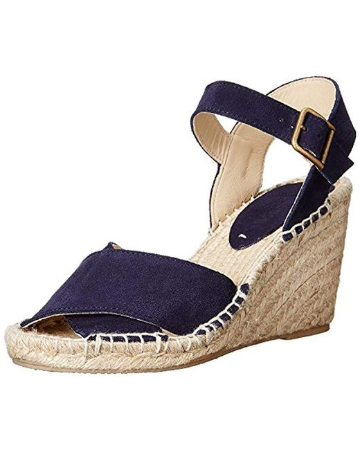 d1cb617acb4 Lyst - Soludos Criss Cross Espadrille Wedge Sandal in Blue - Save 30%