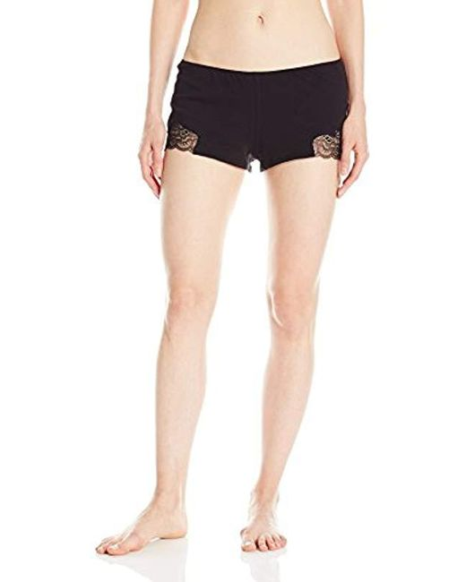 Only Hearts - Black Luxe Lace Organic Cotton Sleep Shorts - Lyst