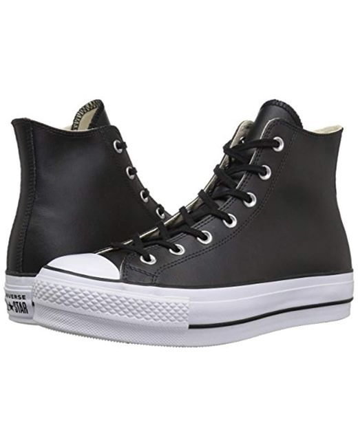 43062074c7f ... Converse - Black Chuck Taylor All Star Lift Clean Hi-top Trainers -  Lyst ...
