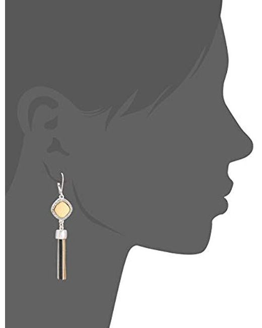Nine West - Gray Tritone Tassel Drop Earrings, Tritone - Lyst