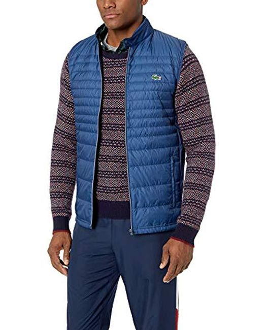 Lacoste Blue Mixed Media Vest With Down Padding for men