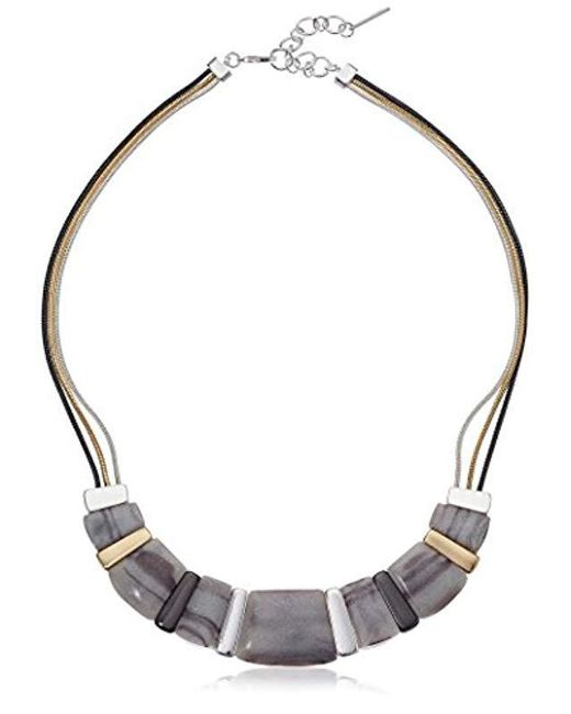 """Nine West - Gray Tri-tone And Grey 16"""" Frontal Necklace, Size 0 - Lyst"""
