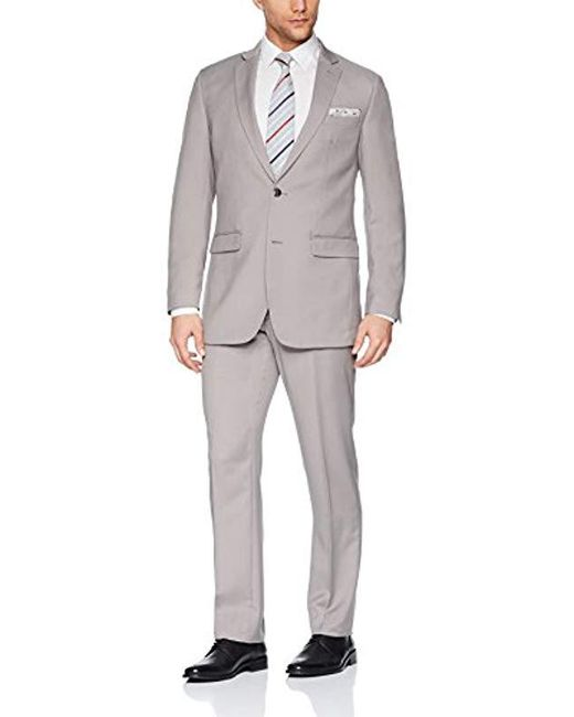 Perry Ellis Natural Two Piece Finished Bottom Slim Fit Suit for men