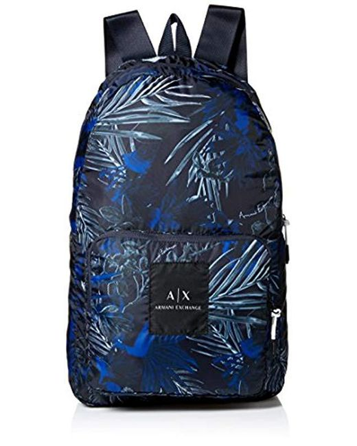 Armani Exchange - Blue Rmni Exchnge Printed Tropicl Bckpck for Men - Lyst  ... 59238bece38d0