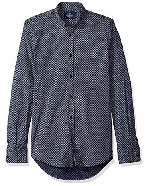 fb9e52fe Scotch & Soda - Blue Classic Shirt In Cotton/elastane Quality With Fixed  Collar for