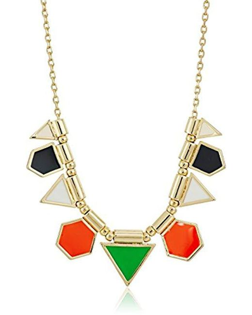 """French Connection - Metallic Polygon Frontal Fine Chain Necklace, 16"""" + 3"""" Extender - Lyst"""