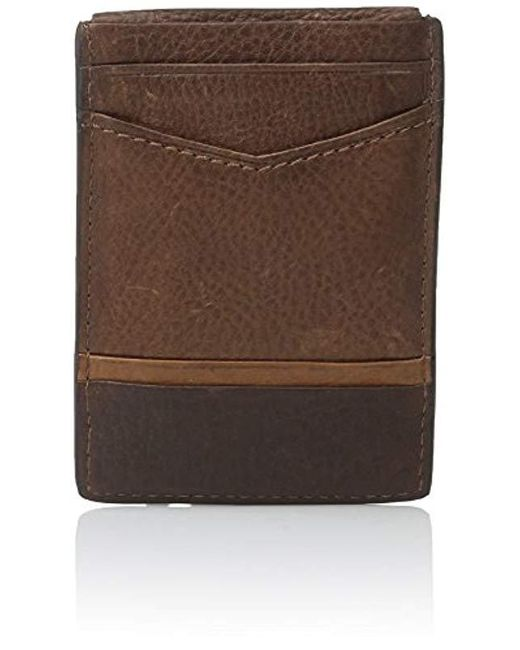 fossil brown ian magnetic card holder for men lyst - Magnetic Card Holder