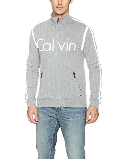 Calvin Klein - Gray Jeans Rebel Sport Full-zip Track Jacket for Men - Lyst