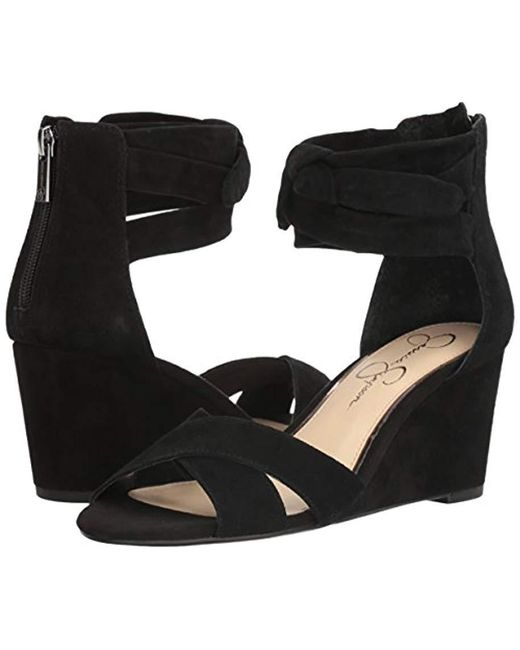 e5be16c55f62 Lyst - Jessica Simpson Cyrena Wedge Sandal in Black - Save 67%