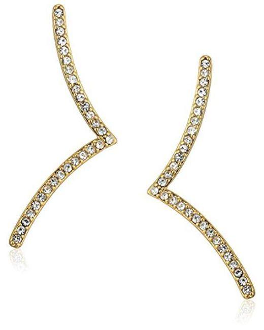 Rebecca Minkoff - Metallic Thin V Drop Stud Earrings - Lyst