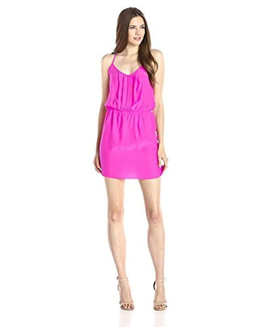 bc3eff8ef127 Amanda Uprichard - Pink Kenzie Silk Dress With Ladder Back - Lyst ...