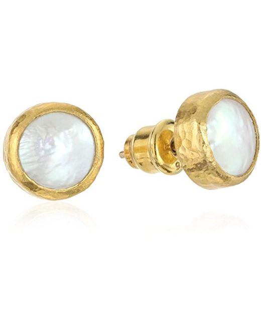 Gurhan - Metallic Lentil Gold Coin Pearl Stud Earrings - Lyst