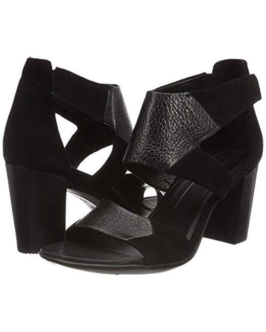 986c5336a5ba Lyst - Ecco Shape 65 Block Ankle Strap Heeled Sandal Black