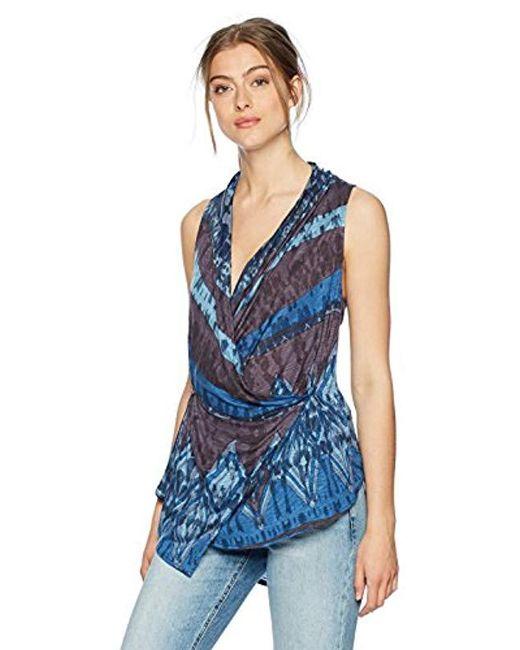 Desigual Blue Gautier Sleeveless T-shirt