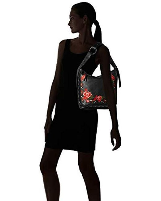 32a232714e3e ... Calvin Klein - Black Liana Pebble Leather Floral Embroidery Belted Top  Zip Slouchy Hobo - Lyst