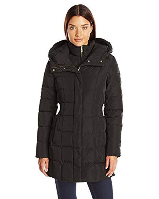 Cole Haan - Black Taffeta Down Coat With Bib Front And Dramatic Hood - Lyst