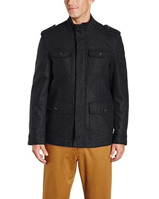 Tommy Hilfiger - Black Wool-blend Melton Military Jacket for Men - Lyst