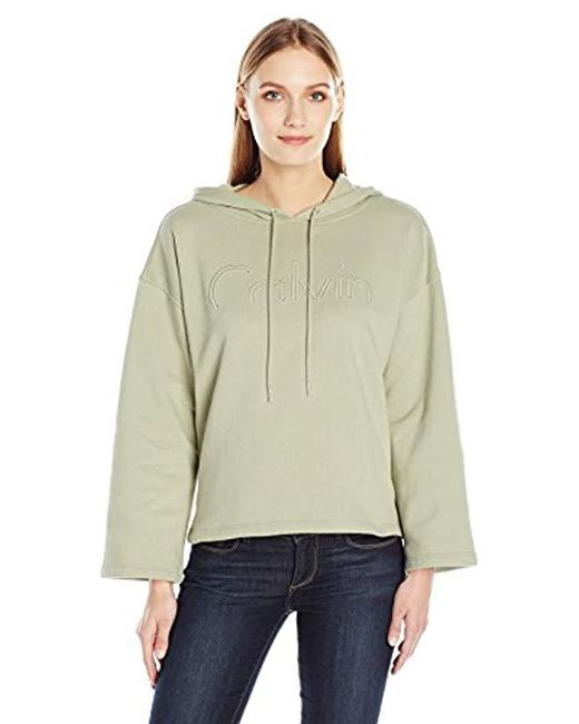 Calvin Klein - Green Jeans Cropped Logo Hoodie - Lyst