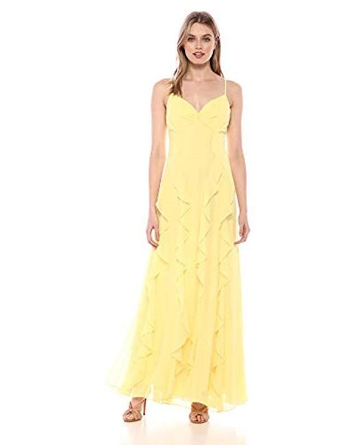 8be75a7c04b596 BCBGMAXAZRIA - Yellow Strappy Ruffle Gown - Lyst ...