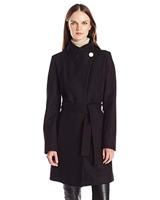 T Tahari - Black Isabelle Asymmentrical Wool Coal With Belt - Lyst