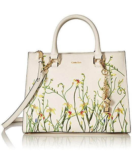 Calvin Klein - White Logan Saffiano Leather Floral Applique Satchel - Lyst