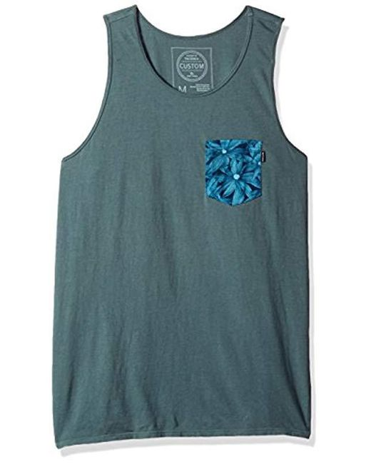 Rip Curl - Blue Staple Custom Pkt Tank for Men - Lyst