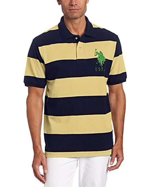 U.S. POLO ASSN. - Blue S Stripe Pique Polo W/ Big Pony for Men - Lyst