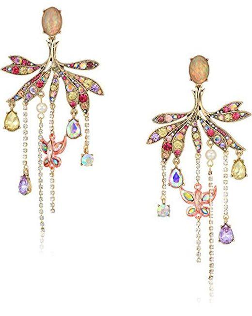 Betsey Johnson - Multicolor S Blooming Betsey Butterfly Chandelier Drop Earrings, Multi, One Size - Lyst