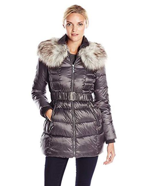 Betsey Johnson - Multicolor Long Puffer Coat With Faux Fur And Belt - Lyst
