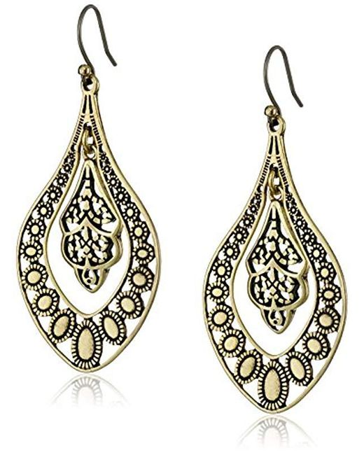 Lucky Brand - Metallic S Sahara Dust Filigree Oblong Earring - Lyst