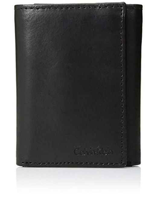 Calvin Klein - Black Leather Trifold Wallet With Key Fob for Men - Lyst